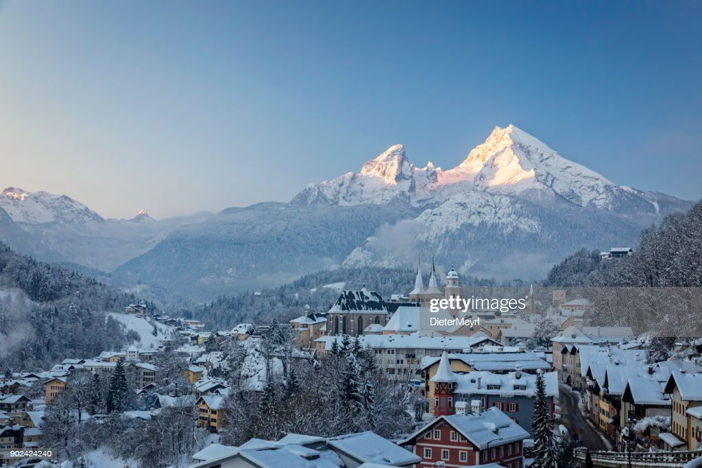 Town of Berchtesgaden with Watzmann in winter at sunrise, Bavaria, Germany : Stock Photo