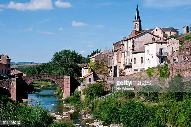 Town of Camares on the Dourdou River in Aveyron department South of France