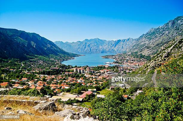 town of kotor - kotor bay stock pictures, royalty-free photos & images