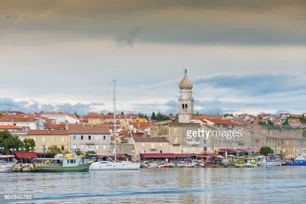 town of krk  kvarner region of croatia - bay of water stock pictures, royalty-free photos & images