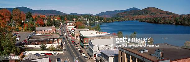 Town of Lake Placid In Autumn New York
