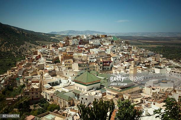 town of moulay idriss zerhoun and tomb, morocco - jake warga stock pictures, royalty-free photos & images
