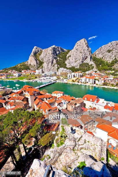 town of omis and cetina river mouth panoramic view - dalmatia region croatia stock pictures, royalty-free photos & images