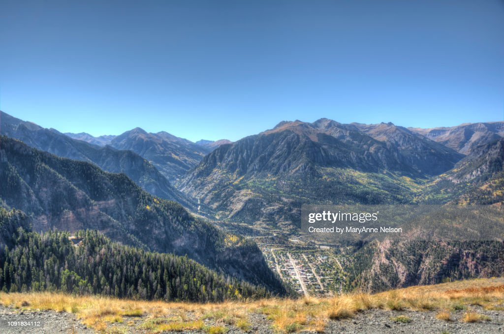 town of Ouray in a Mountain Valley : Stock Photo
