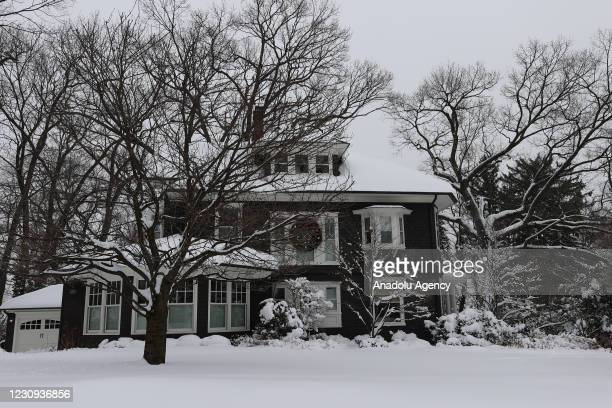 Town of Ridgewood is seen with snowfall in New Jersey, United States on February 2021.