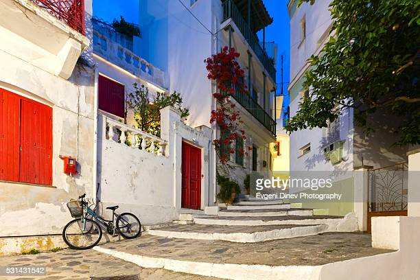 town of skopelos at night - volos stock pictures, royalty-free photos & images