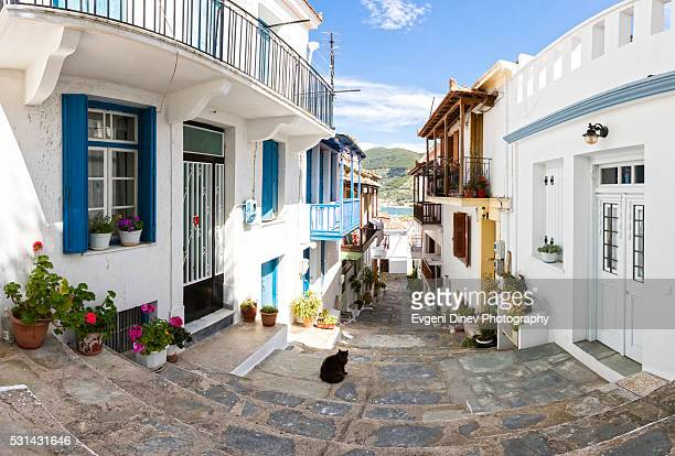 town of skopelos - volos stock pictures, royalty-free photos & images