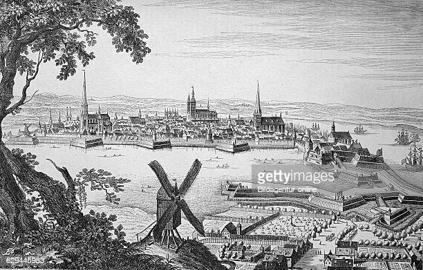 Town of stralsund during the thirty years' war mecklenburgwestern pomerania germany historic wood engraving ca 1880