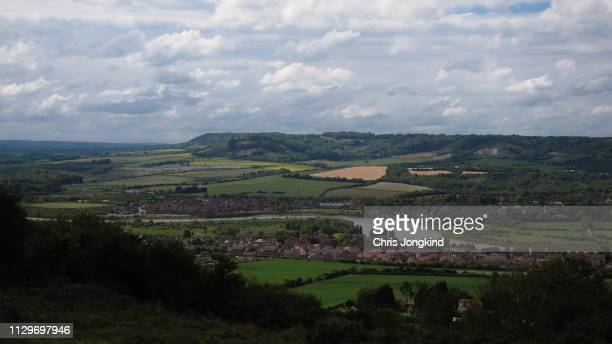 town on river in rolling countryside - river medway stock photos and pictures