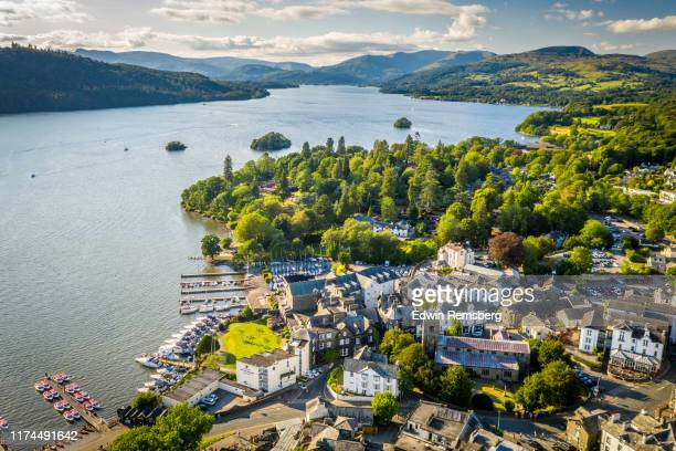 town on the lake - cumbria stock pictures, royalty-free photos & images