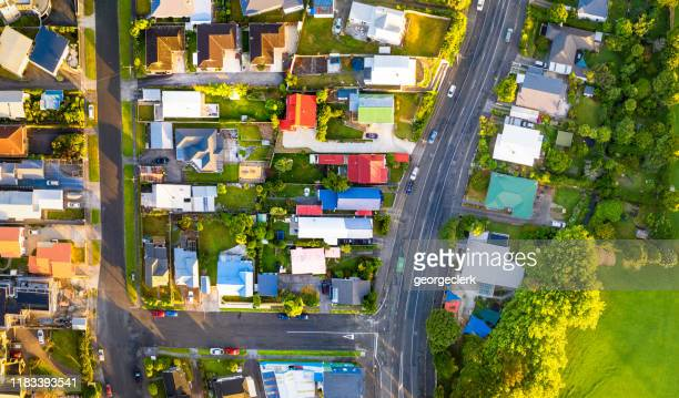 town photographed from directly above - housing development stock pictures, royalty-free photos & images
