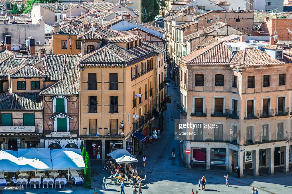 Town plaza in Segovia, Spain : Stock Photo