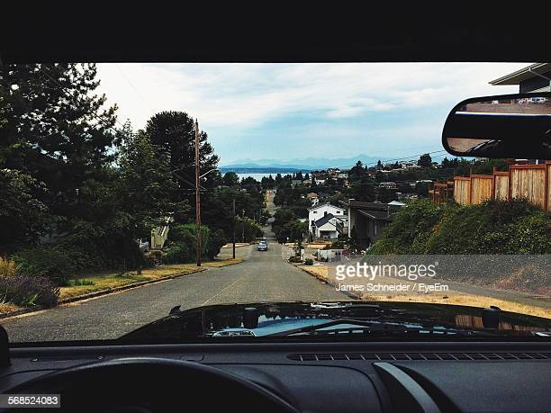 Town Seen Through Car Point Of View