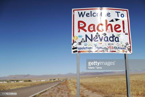 A town sign is posted mentioning aliens during the 'Storm Area 51' spinoff event 'Alienstock' on September 21 2019 in Rachel Nevada The event is a...