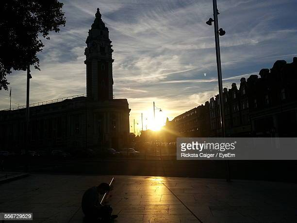 town square at sunset - brixton stock photos and pictures