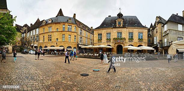 town square in sarlat france - sarlat stock photos and pictures