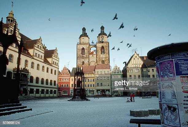 town square in wittenberg, east germany - east germany stock pictures, royalty-free photos & images