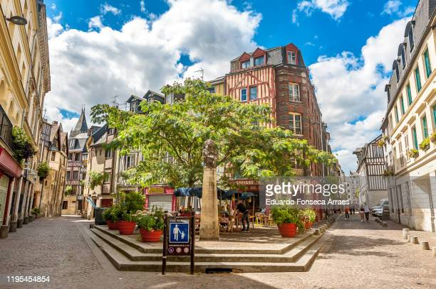 town square, narrow streets and alleys lined with half-timbered houses in the medieval town of rouen - rouen stock pictures, royalty-free photos & images