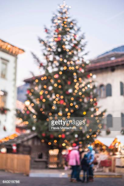 Town square with Christmas tree defocused