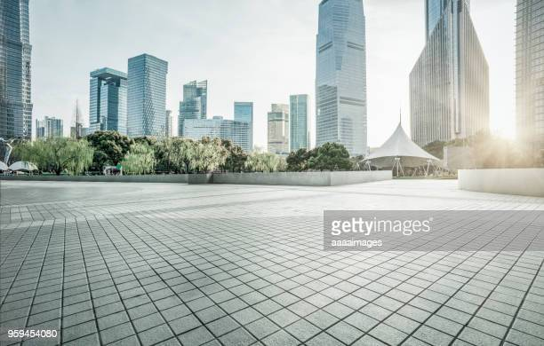 town square with financial buildings against sky,shanghai - financial district stock pictures, royalty-free photos & images