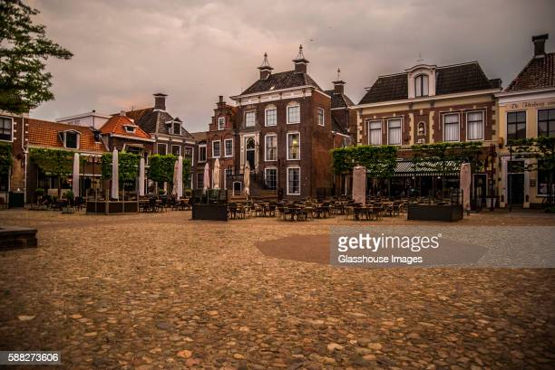 Town Square with Shops and Restaurants at Twilight, Workum, Netherlands