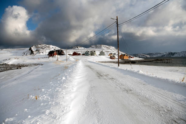 Town street of Veines, Hasvik, Northern Norway