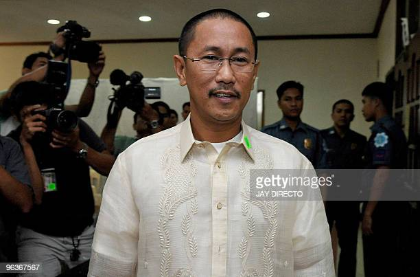 Town ViceMayor Esmael Mangudadatu arrives at a court hearing in Quezon City Manila on February 3 of his archrival Andal Ampatuan Jnr who is facing...