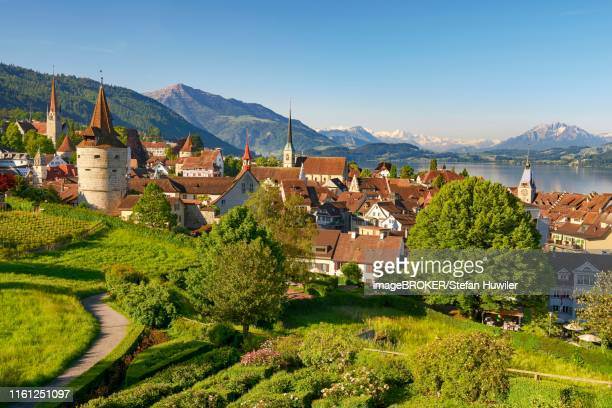 Town view with Zytturm, Capuchin tower and church, old town with Lake Zug, Rigi at the back, Pilatus, Zug, Canton Zug, Switzerland