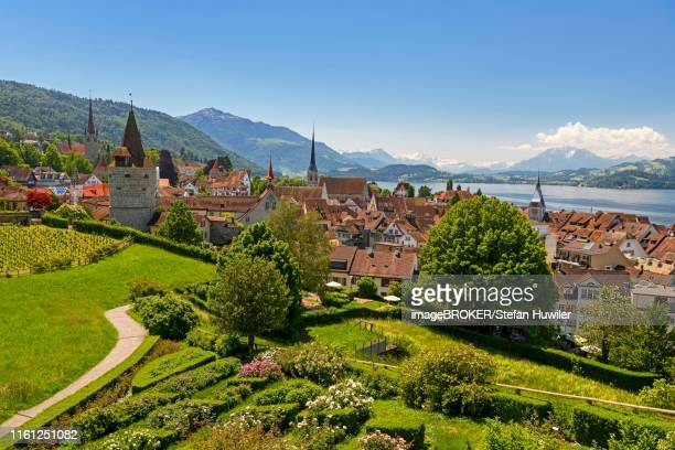 Town view with Zytturm, Capuchin tower and church, old town with Zugersee, Rigi at the back, Pilatus, Zug, Canton Zug, Switzerland