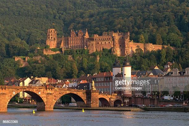 town with bridge and castle - heidelberg stock-fotos und bilder