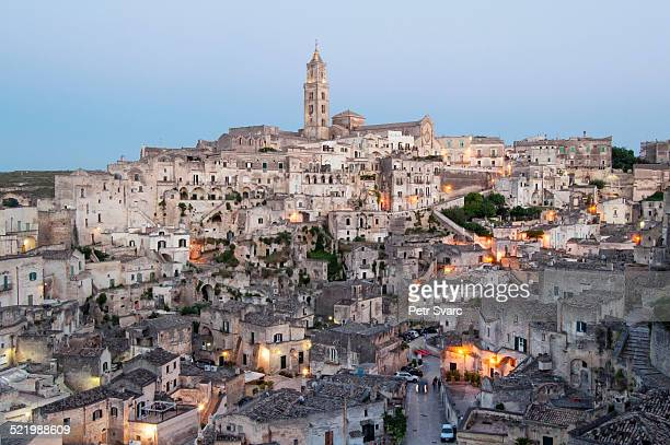 Town with cave dwellings, Sasso Barisano, Sassi di Matera, Matera, Basilicata, Italy