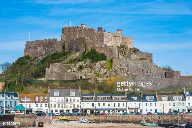 Town with Gorey Castle, Mont Orgueil, Jersey, Channel Islands, United kingdom