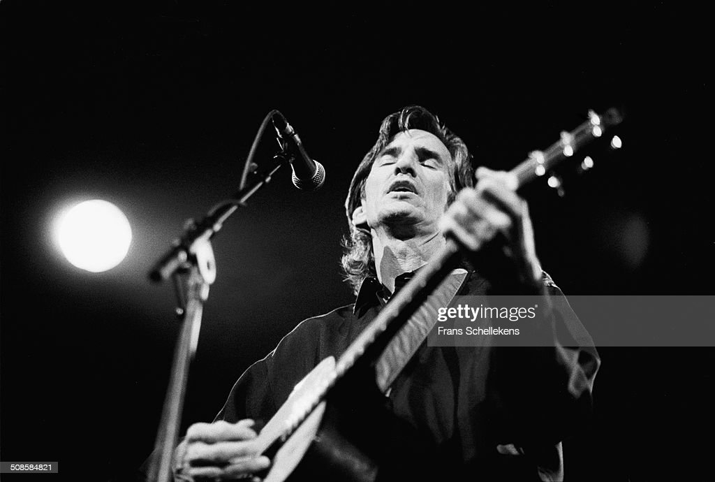 Townes van Zandt, guitar-vocal, performs at the Paradiso on 9th January 1992 in Amsterdam, Netherlands.