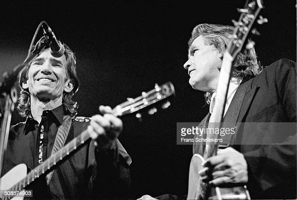 Townes van Zandt & Guy Clark, guitar-vocal, perform at the Paradiso on 9th January 1992 in Amsterdam, Netherlands.
