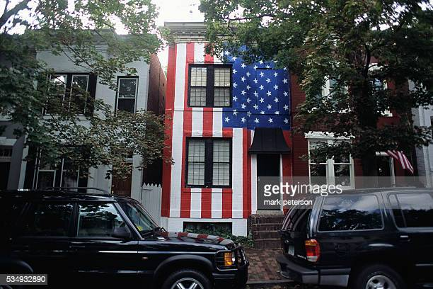 A townhouse in the Adams Morgan neighborhood has the American flag painted on its facade