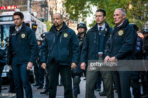 UNIT 'Townhouse Incident' Episode 1712 Pictured Andy Karl as Sergeant Mike Dodds IceT as Detective Odafin 'Fin' Tutuola Peter Scanavino as Dominick...