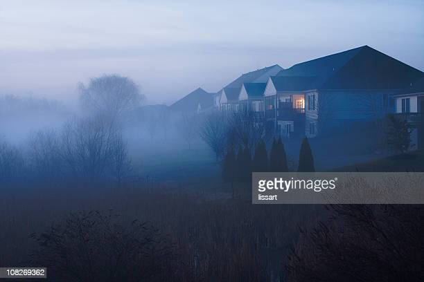 townhouse morning with fog - suburban stock pictures, royalty-free photos & images