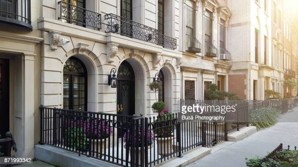 townhouses along east 81st street in the upper east side, manhattan, new york city - new york celebrity stock photos and pictures