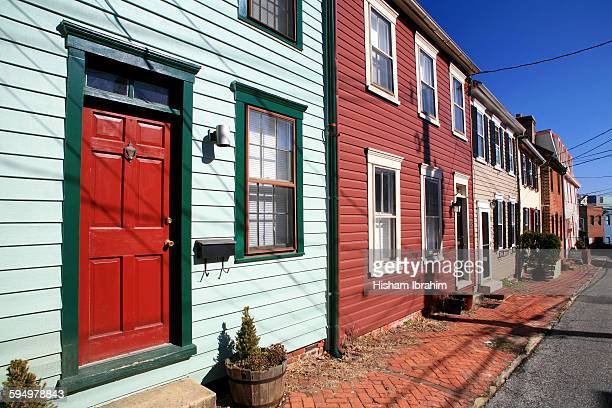 Townhouses and street in Historic Annapolis, MD