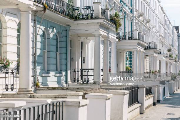townhouses in a row in notting hill, london, england - notting hill stock pictures, royalty-free photos & images