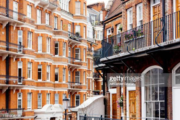 townhouses in kensington and chelsey neighborhood, london, uk - 19th century style stock pictures, royalty-free photos & images