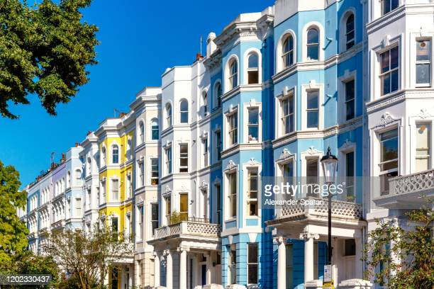 townhouses in notting hill neighbourhood, london, uk - chelsea stock pictures, royalty-free photos & images