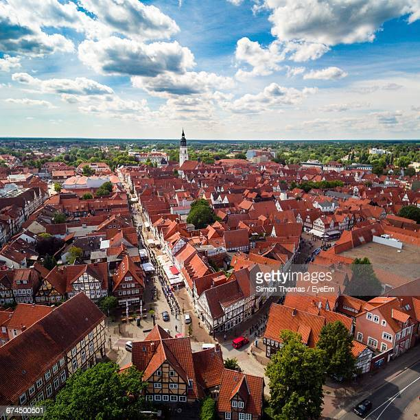 townscape against sky - celle stock photos and pictures
