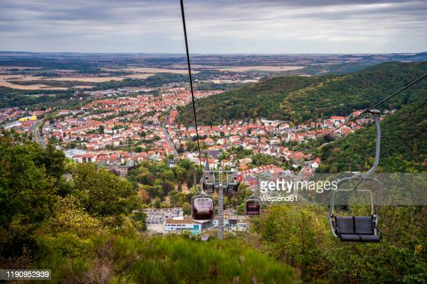 townscape and chairlift, thale, saxony-anhalt, germany - saxony anhalt stock pictures, royalty-free photos & images