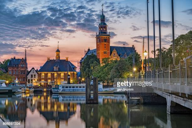 Townscape at sunset, Leer, Lower Saxony, Germany