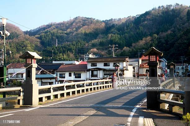 townscape of misasa, tottori prefecture, honshu, japan - tottori prefecture stock photos and pictures