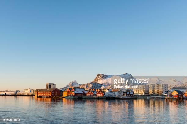 Townscape Svolvaer in the morning light, Austvagoey, Lofoten, Norway