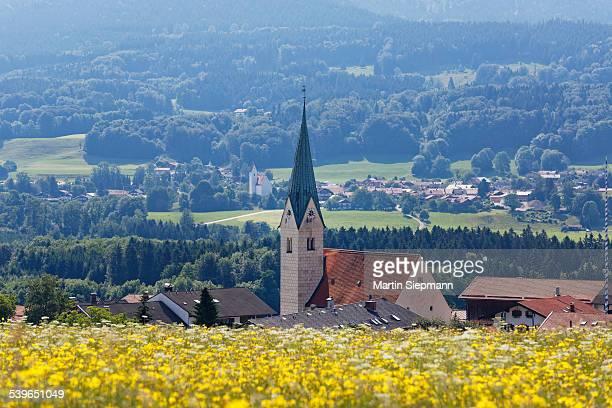Townscape, Torwang and Grainbach at the back, Samerberg, Chiemgau, Upper Bavaria, Bavaria, Germany