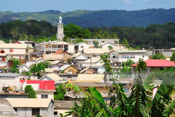 townscape with the minaret of the mosque, tsigoni, mayotte - minaret stock pictures, royalty-free photos & images
