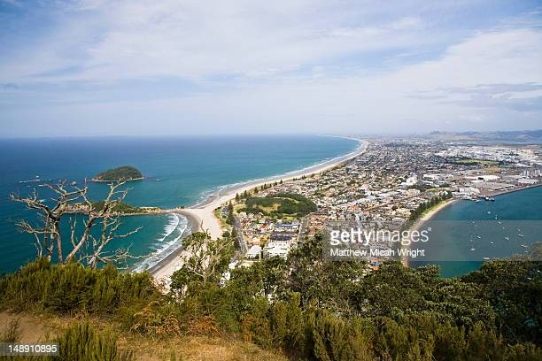 township from mt maunganuim. - mount maunganui stock pictures, royalty-free photos & images